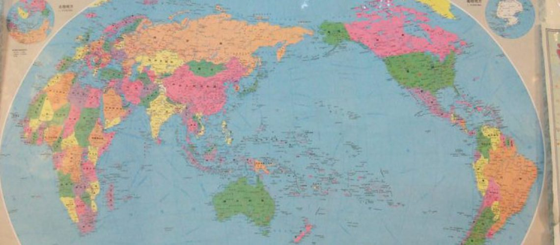 World Map China in the middle